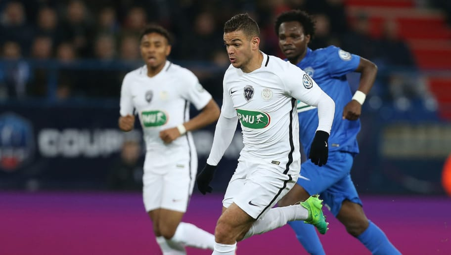 Paris Saint-Germain's French forward Hatem Ben Arfa controls the ball during the French Cup football match between Avranches (USA) and Paris Saint-Germain (PSG) at Michel D'Ornano Stadium in Caen on April 5, 2017. / AFP PHOTO / CHARLY TRIBALLEAU        (Photo credit should read CHARLY TRIBALLEAU/AFP/Getty Images)