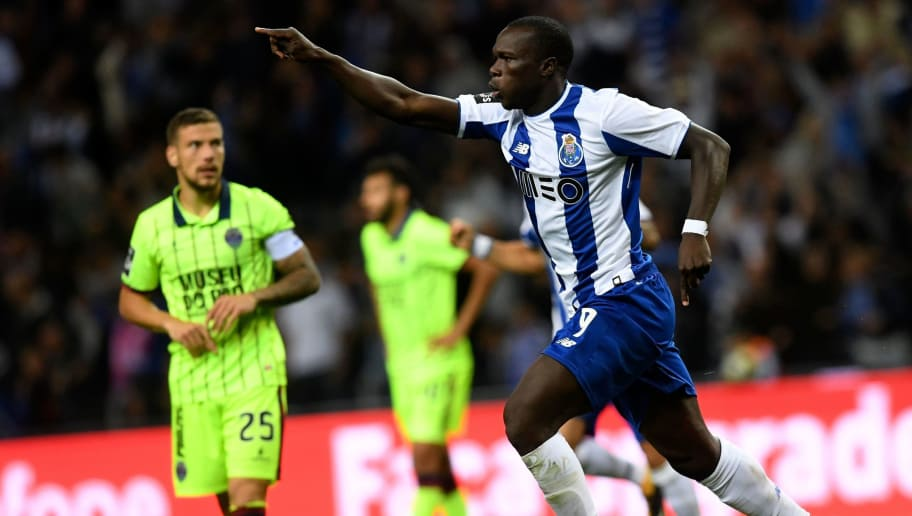 Porto's Cameroonian forward Vincent Aboubakar celebrates after scoring a goal during the Portuguese league football match FC Porto vs UD Chaves at the Dragao stadium in Porto on September 9, 2017. / AFP PHOTO / FRANCISCO LEONG        (Photo credit should read FRANCISCO LEONG/AFP/Getty Images)