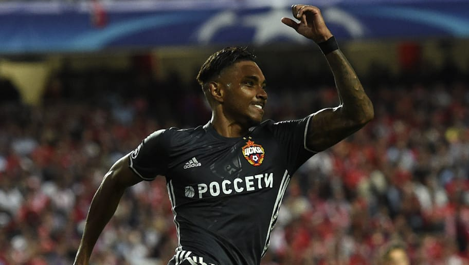 CSKA's Brazilian forward Vitinho celebrates after scoring  during the UEFA Champions League Group A football match SL Benfica vs CSKA Moscow at the Luz stadium in Lisbon, on September 12, 2017.  / AFP PHOTO / FRANCISCO LEONG        (Photo credit should read FRANCISCO LEONG/AFP/Getty Images)