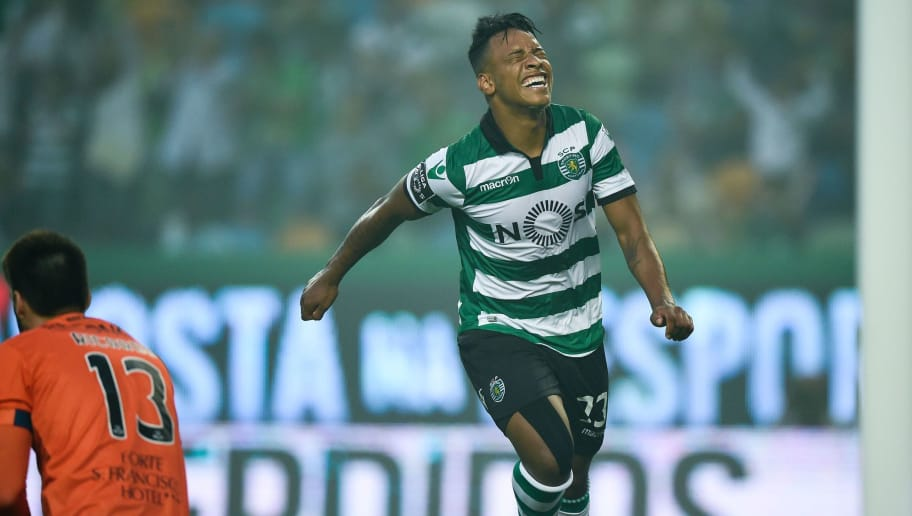 Sporting's Brazilian forward Matheus Pereira (R) celebrates after scoring during the Portuguese league football match Sporting CP vs GD Chaves  at the Jose Alvalade stadium in Lisbon on May 21, 2017. / AFP PHOTO / PATRICIA DE MELO MOREIRA        (Photo credit should read PATRICIA DE MELO MOREIRA/AFP/Getty Images)