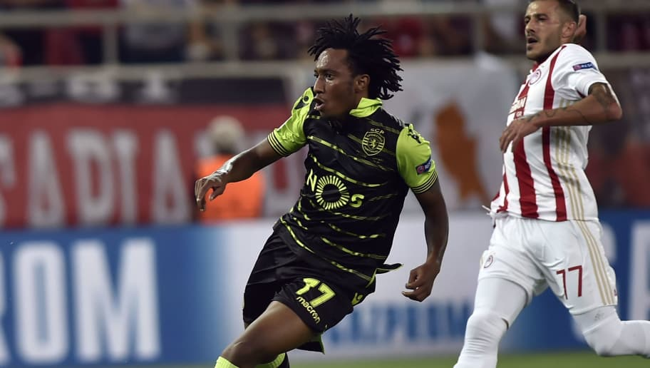Sporting Lisbon's forward Gelson Martins scores a goal during the UEFA Champions League Group D football match between Olympiacos Piraeus FC and Sporting Lisbon on September 12, 2017 at the Karaiskaki stadium in Athens. / AFP PHOTO / LOUISA GOULIAMAKI        (Photo credit should read LOUISA GOULIAMAKI/AFP/Getty Images)