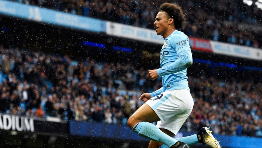 MANCHESTER, ENGLAND - SEPTEMBER 09:  Leroy Sane of Manchester City celebrates scoring his sides fifth goal during the Premier League match between Manchester City and Liverpool at Etihad Stadium on September 9, 2017 in Manchester, England.  (Photo by Stu Forster/Getty Images)