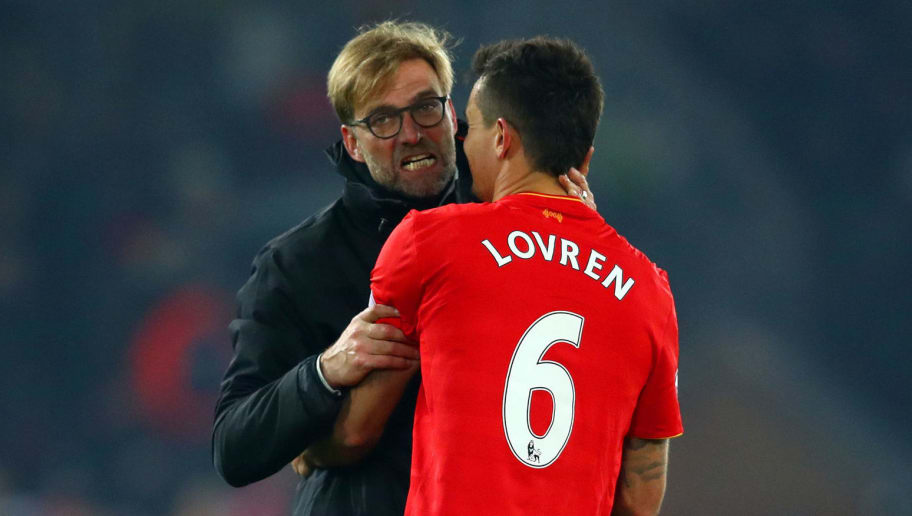 LIVERPOOL, ENGLAND - NOVEMBER 26: Jurgen Klopp, Manager of Liverpool celebrates Dejan Lovren after their 2-0 win in the Premier League match between Liverpool and Sunderland at Anfield on November 26, 2016 in Liverpool, England.  (Photo by Clive Brunskill/Getty Images)