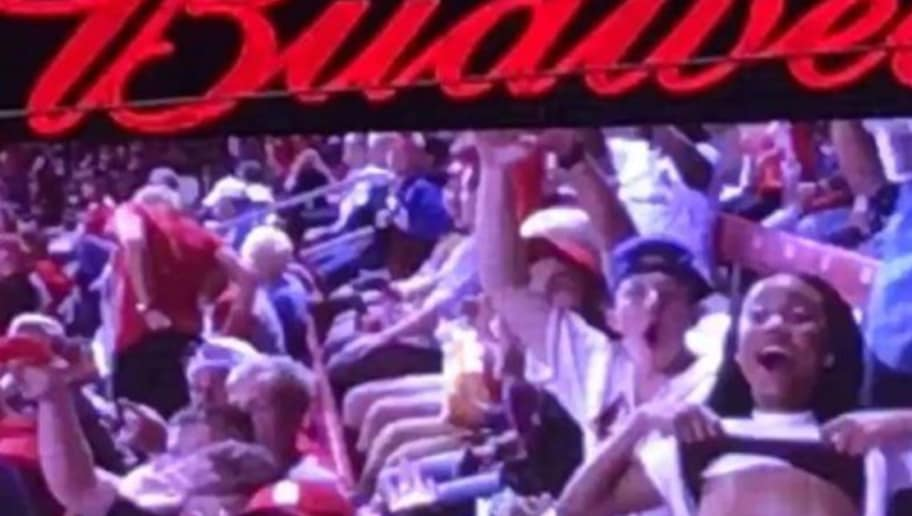 Cardinals Fan Fully Flashes Crowd While On The Jumbotron 12up