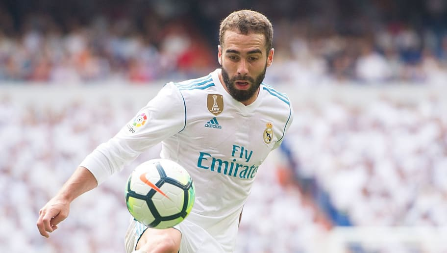MADRID, SPAIN - SEPTEMBER 09: Dani Carvajal of Real Madrid CF controls the ball during the La Liga match between Real Madrid and Levante at Estadio Santiago Bernabeu on September 9, 2017 in Madrid, Spain . (Photo by Denis Doyle/Getty Images)