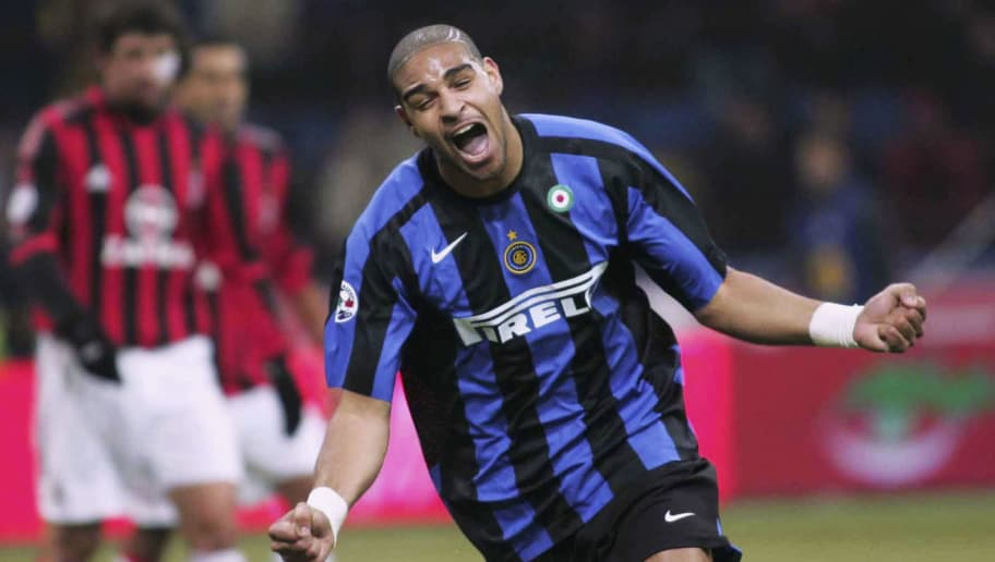 MILAN, ITALY - DECEMBER 11:  Adriano of Inter celebrates after scoring during the Serie A match between Inter Milan and AC Milan played at the Giuseppe Meazza San Siro stadium on December 11, 2005 in Milan, Italy. (Photo by New Press/Getty Images)