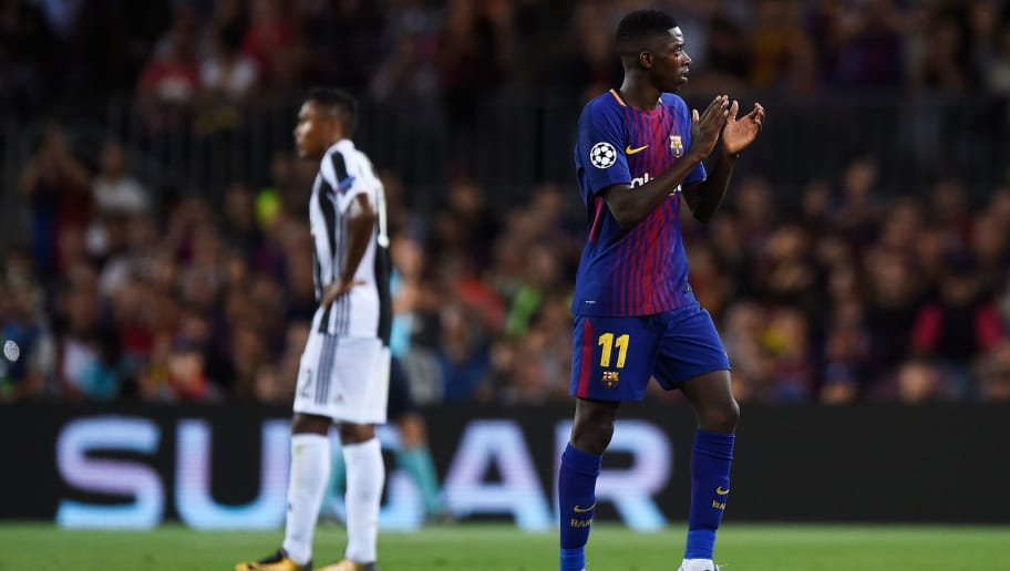 BARCELONA, SPAIN - SEPTEMBER 12: Ousmane Dembele of Barcelona shows appreciation to the fans as he walks off to be subbed during the UEFA Champions League Group D match between FC Barcelona and Juventus at Camp Nou on September 12, 2017 in Barcelona, Spain.  (Photo by Alex Caparros/Getty Images)