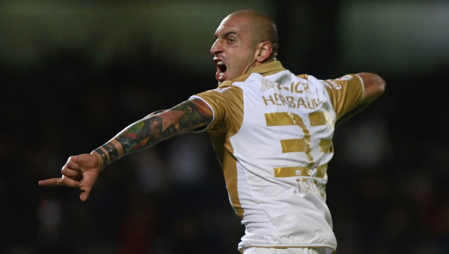 MEXICO CITY, MEXICO - SEPTEMBER 24:  Ariel Nahuelpan of Pumas celebrates the second goal during a match between Pumas and Queretaro as part of the Copa MX at Olimpico Universitario stadium on September 24, 2013 in Mexico City, Mexico. (Photo by Hector Vivas/LatinContent/Getty Images)