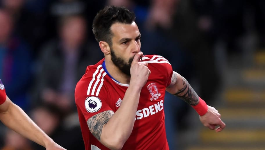 HULL, ENGLAND - APRIL 05: Alvaro Negredo of Middlesbrough (R) celebrates scoring his sides first goal during the Premier League match between Hull City and Middlesbrough at the KCOM Stadium on April 5, 2017 in Hull, England.  (Photo by Michael Regan/Getty Images)