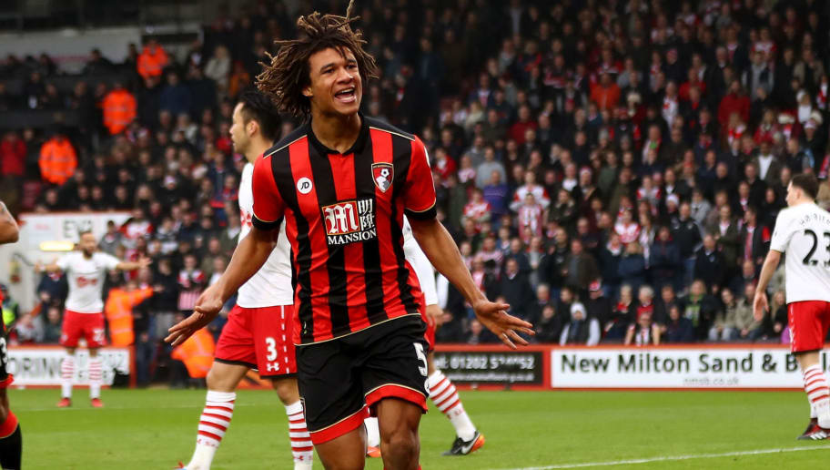BOURNEMOUTH, ENGLAND - DECEMBER 18:  Nathan Ake of AFC Bournemouth celebrates scoring his sides first goal during the Premier League match between AFC Bournemouth and Southampton at Vitality Stadium on December 18, 2016 in Bournemouth, England.  (Photo by Michael Steele/Getty Images)
