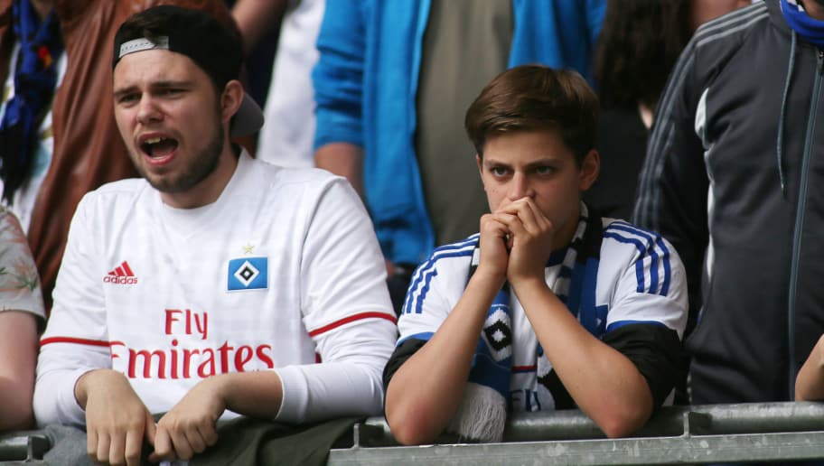 HAMBURG, GERMANY - MAY 20: HSV Fans on the stands   during the Bundesliga match between Hamburger SV and VfL Wolfsburg at Volksparkstadion on May 20, 2017 in Hamburg, Germany. (Photo by Selim Sudheimer/Bongarts/Getty Images)