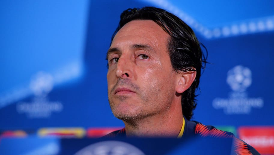 GLASGOW, SCOTLAND - SEPTEMBER 11:  Unai Emery head coach of PSG looks on during a Paris Saint-Germain press conference ahead of the UEFA Champions League Group B match against Celtic at Celtic Park on September 11, 2017 in Glasgow, Scotland.  (Photo by Mark Runnacles/Getty Images)