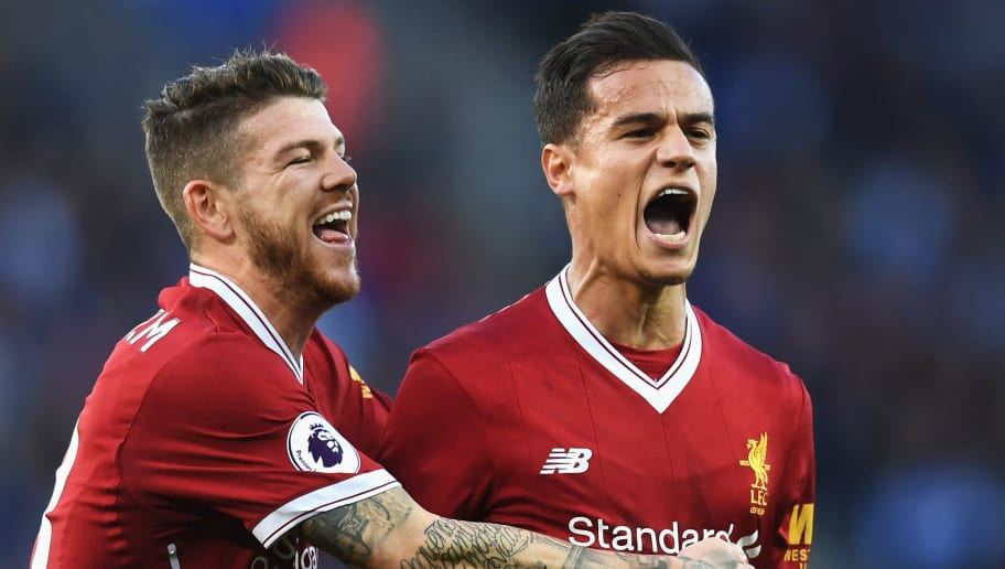 LEICESTER, ENGLAND - SEPTEMBER 23:  Philippe Coutinho of Liverpool celebrates scoring his sides second goal with Alberto Moreno of Liverpool  during the Premier League match between Leicester City and Liverpool at The King Power Stadium on September 23, 2017 in Leicester, England.  (Photo by Michael Regan/Getty Images)