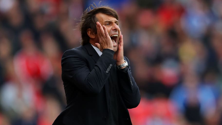 STOKE ON TRENT, ENGLAND - SEPTEMBER 23: Chelsea Manager Antonio Conte reacts during the Premier League match between Stoke City and Chelsea at Bet365 Stadium on September 23, 2017 in Stoke on Trent, England. (Photo by Richard Heathcote/Getty Images)
