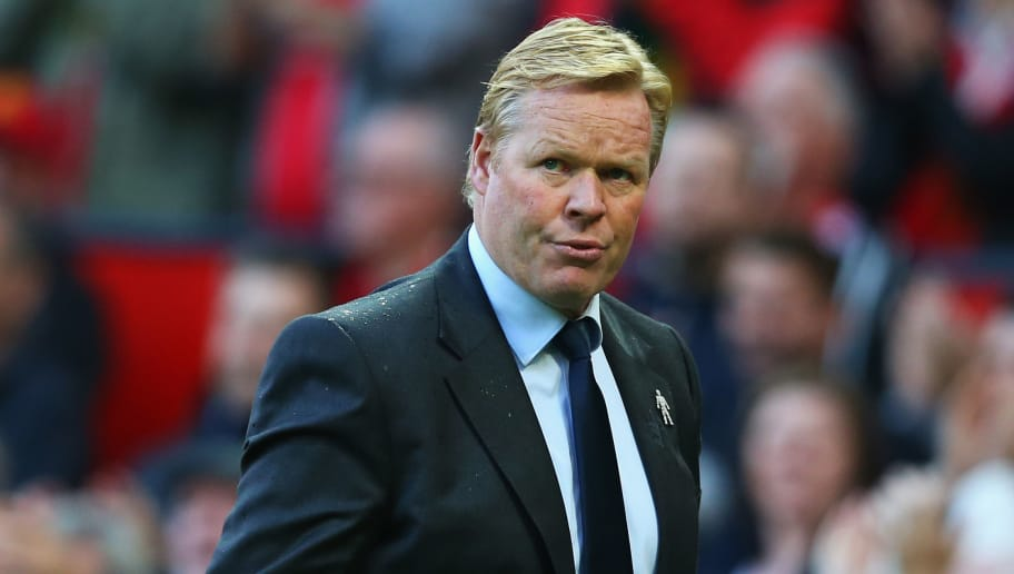 MANCHESTER, ENGLAND - SEPTEMBER 17:  Ronald Koeman, Manager of Everton looks dejected after the Premier League match between Manchester United and Everton at Old Trafford on September 17, 2017 in Manchester, England.  (Photo by Alex Livesey/Getty Images)