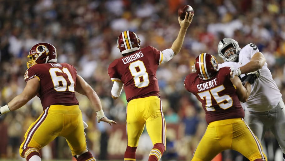 LANDOVER, MD - SEPTEMBER 24: Quarterback Kirk Cousins #8 of the Washington Redskins throws in the third quarter against the Oakland Raiders at FedExField on September 24, 2017 in Landover, Maryland.  (Photo by Patrick Smith/Getty Images)