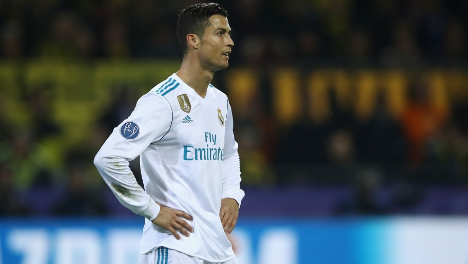 DORTMUND, GERMANY - SEPTEMBER 26: Cristiano Ronaldo of Real Madrid reacts during the UEFA Champions League group H match between Borussia Dortmund and Real Madrid at Signal Iduna Park on September 26, 2017 in Dortmund, Germany.  (Photo by Alex Grimm/Bongarts/Getty Images,)