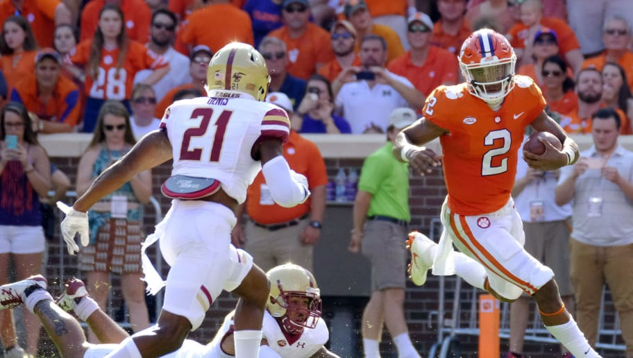 CLEMSON, SC - SEPTEMBER 23: Quarterback Kelly Bryant #2 of the Clemson Tigers tries to elude defenders from the Boston College Eagles at Memorial Stadium on September 23, 2017 in Clemson, South Carolina. (Photo by Todd Bennett/Getty Images)