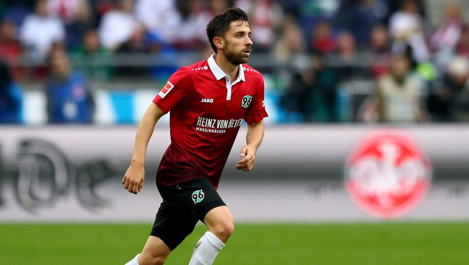 HANOVER, GERMANY - SEPTEMBER 24:  Julian Korb of Hannover runs with the ball during the Bundesliga match between Hannover 96 and 1. FC Koeln at HDI-Arena on September 24, 2017 in Hanover, Germany.  (Photo by Martin Rose/Bongarts/Getty Images)