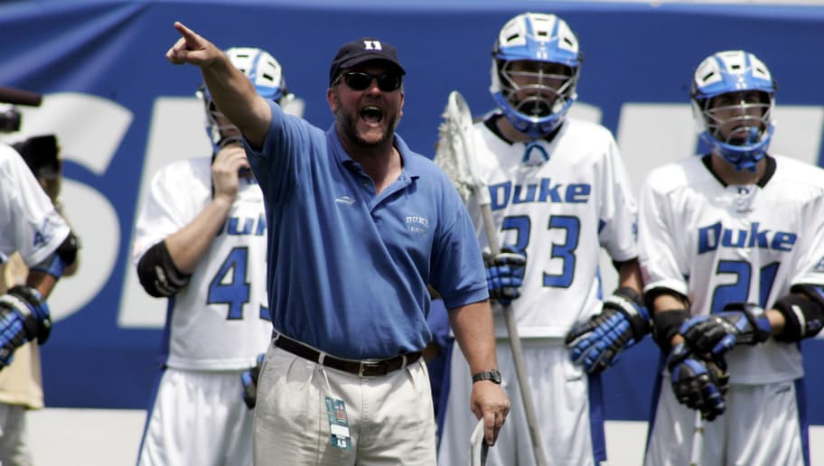 Duke's head coach Mike Presser in a victory over Maryland.  The Duke Blue Devils defeated the Maryland Terrapins 18 to 9 in the NCAA Mens Lacrosse Semi Finals at Lincoln Financial Field in Philadelphia, Pennsylvania on May 28, 2005. (Photo by Joseph Labolito/Getty Images)