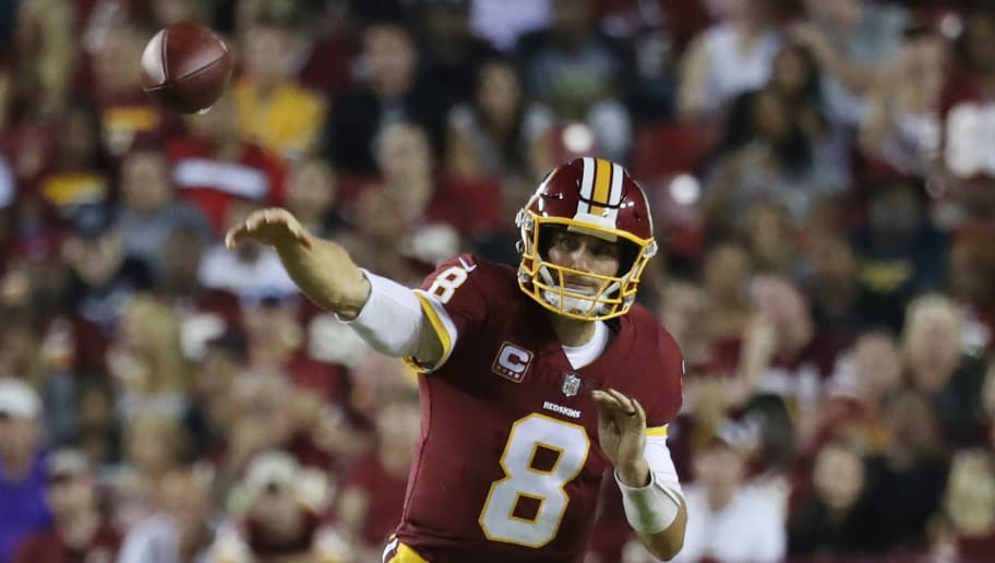 LANDOVER, MD - SEPTEMBER 24: Quarterback Kirk Cousins #8 of the Washington Redskins throws in the second quarter against the Oakland Raiders at FedExField on September 24, 2017 in Landover, Maryland.  (Photo by Rob Carr/Getty Images)