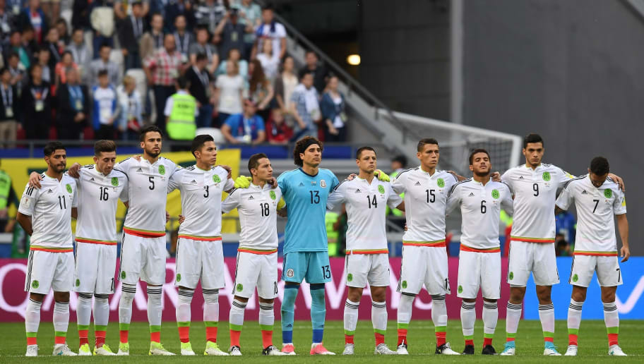 (from L) Mexico's midfielder Carlos Vela, Mexico's midfielder Hector Herrera, Mexico's defender Diego Reyes, Mexico's defender Carlos Salcedo, Mexico's midfielder Andres Guardado, Mexico's goalkeeper Guillermo Ochoa, Mexico's forward Javier Hernandez, Mexico's defender Hector Moreno, Mexico's midfielder Jonathan Dos Santos, Mexico's forward Raul Jimenez, Mexico's midfielder Miguel Layun pose before the 2017 Confederations Cup group A football match between Portugal and Mexico at the Kazan Arena in Kazan on June 18, 2017. / AFP PHOTO / FRANCK FIFE        (Photo credit should read FRANCK FIFE/AFP/Getty Images)