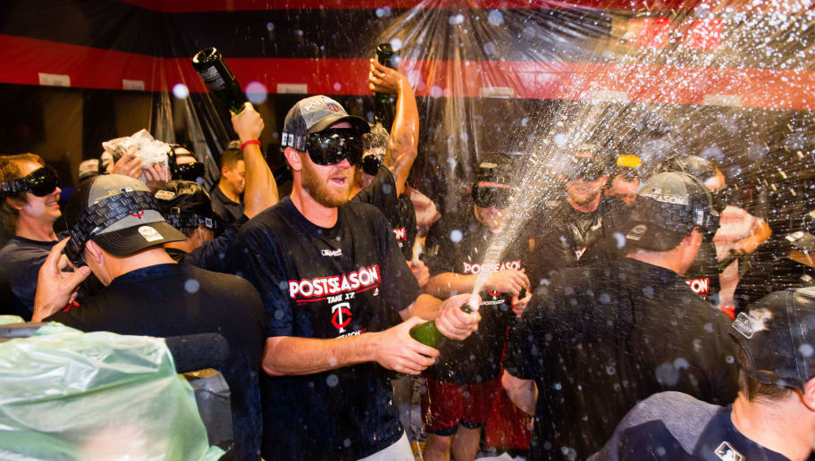 CLEVELAND, OH - SEPTEMBER 27: The Minnesota Twins celebrate after clinching the second Wild Card spot of the American League after at Progressive Field on September 27, 2017 in Cleveland, Ohio. The Indians defeated the Twins 4-2. (Photo by Jason Miller/Getty Images)
