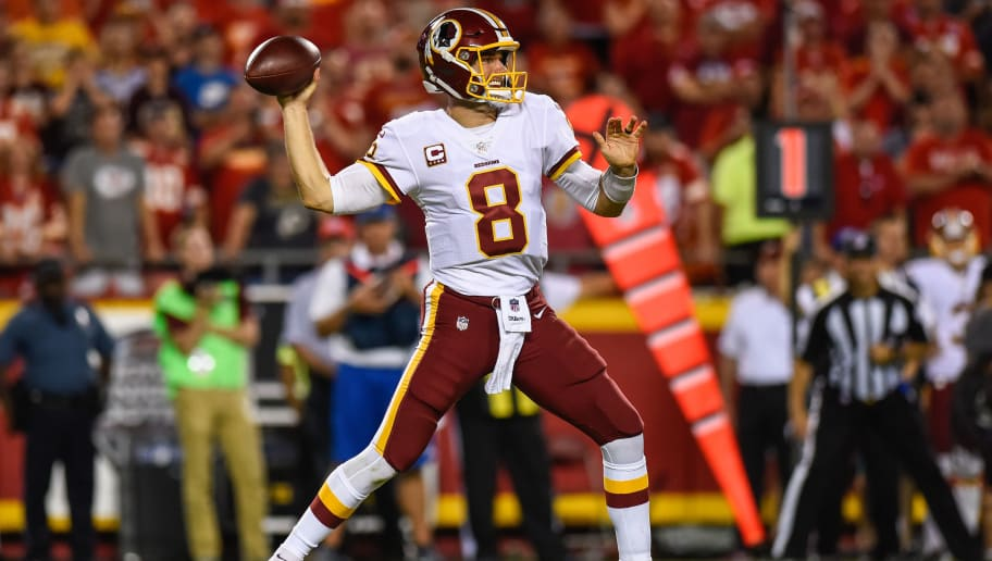 KANSAS CITY, MO - OCTOBER 2: Quarterback Kirk Cousins #8 of the Washington Redskins throws a pass against the Kansas City Chiefs during the fourth quarter of the game at Arrowhead Stadium on October 2, 2017 in Kansas City, Missouri. ( Photo by Jason Hanna/Getty Images )