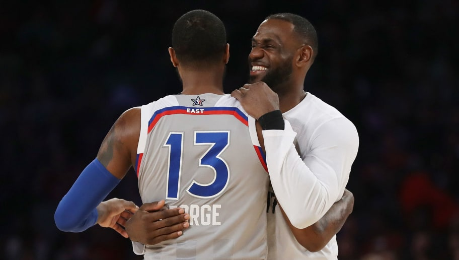NEW ORLEANS, LA - FEBRUARY 19:  Paul George #13 of the Indiana Pacers hugs LeBron James #23 of the Cleveland Cavaliers during the 2017 NBA All-Star Game at Smoothie King Center on February 19, 2017 in New Orleans, Louisiana. NOTE TO USER: User expressly acknowledges and agrees that, by downloading and/or using this photograph, user is consenting to the terms and conditions of the Getty Images License Agreement.  (Photo by Ronald Martinez/Getty Images)