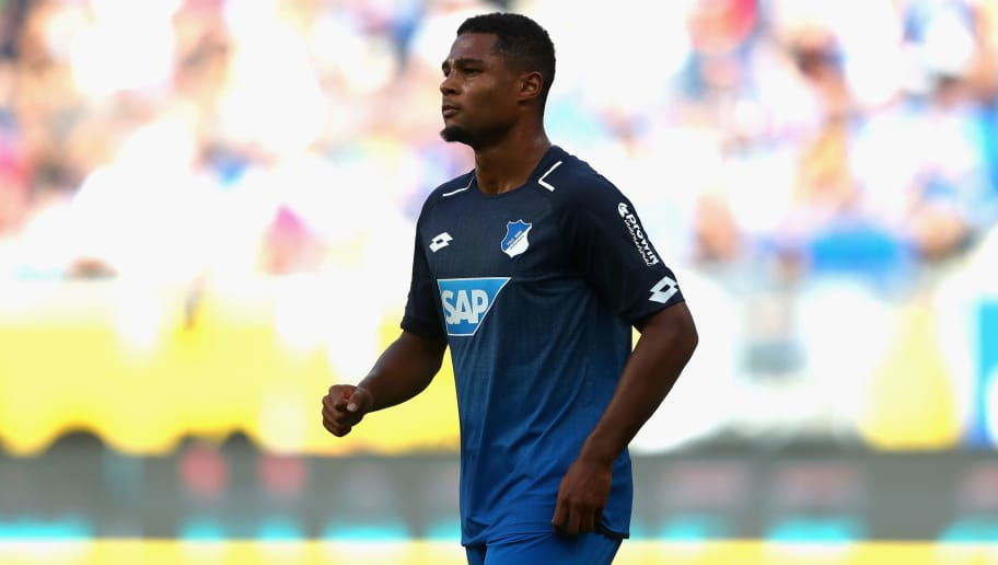 SINSHEIM, GERMANY - AUGUST 19:  Serge Gnabry of Hoffenheim looks on during the Bundesliga match between TSG 1899 Hoffenheim and SV Werder Bremen at Wirsol Rhein-Neckar-Arena on August 19, 2017 in Sinsheim, Germany.  (Photo by Alexander Hassenstein/Bongarts/Getty Images)