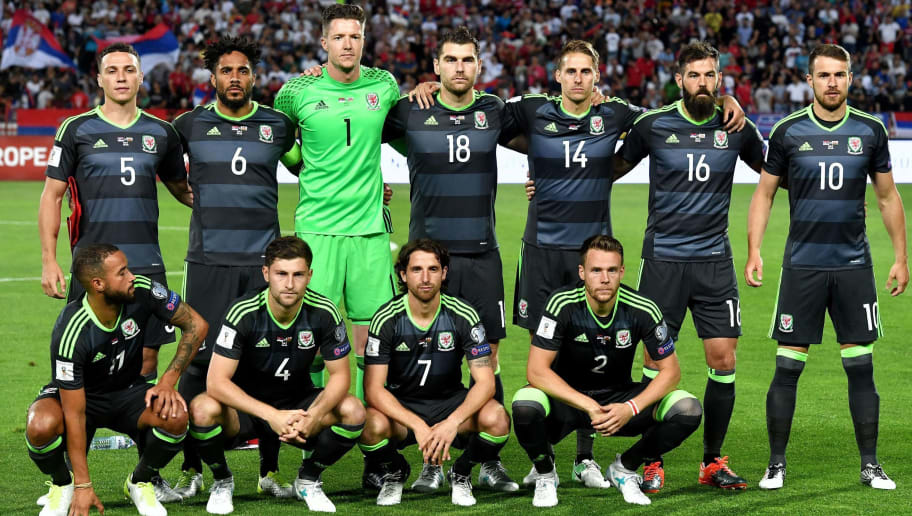 Wales' players pose for a team photo ahead of the WC 2018 football qualification match between Serbia and Wales in Belgrade on June 11, 2017: standing, from left to right, Wales' defender James Chester, Wales' defender Ashley Williams, Wales' goalkeeper Wayne Hennessey, Wales' forward Sam Vokes, Wales' midfielder David Edwards, Wales' midfielder Joe Ladley, Wales' midfielder Aaron Ramsey. First row, from left to right, Wales' defender Jazz Richards, Wales' defender Ben Davies, Wales' midfielder Joe Allen, Wales' defender Chris Gunter.   / AFP PHOTO / ANDREJ ISAKOVIC        (Photo credit should read ANDREJ ISAKOVIC/AFP/Getty Images)