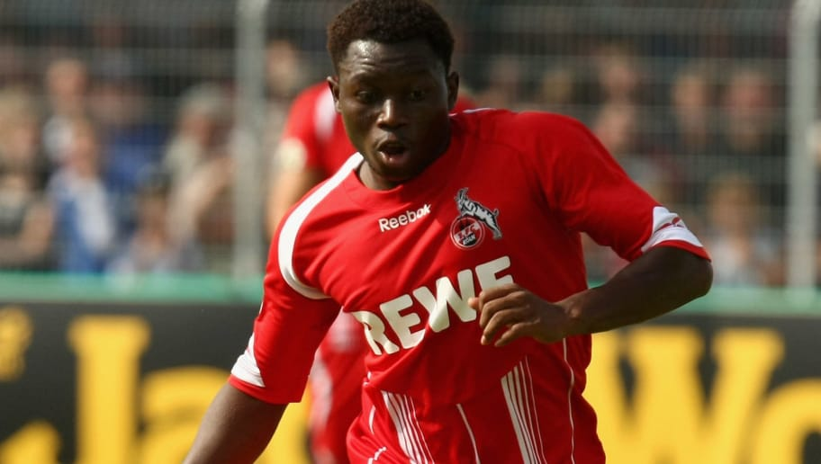 EMDEN, GERMANY - AUGUST 01:  Wilfried Sanou of Koeln runs with the ball during the DFB Cup first round match between BSV Kickers Emden and 1. FC Koeln at the Embdena stadium on August 1, 2009 in Emden, Germany.  (Photo by Martin Rose/Bongarts/Getty Images)