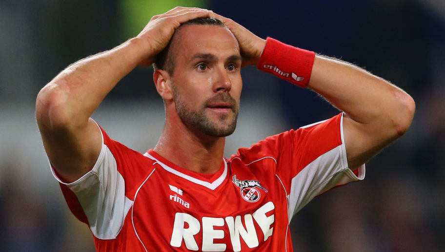 DUISBURG, GERMANY - APRIL 22:  Stefan Maierhofer of Koeln looks thoughtful during the Second Bundesliga match between MSV Duisburg and 1. FC Koeln at Schauinsland-Reisen-Arena on April 22, 2013 in Duisburg, Germany.  (Photo by Christof Koepsel/Bongarts/Getty Images)