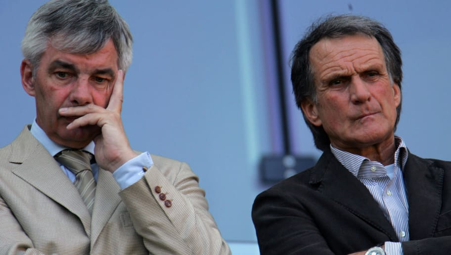 COLOGNE, GERMANY - APRIL 15:  Cologne Manager Michael Meier (L) and club president Wolfgang Overath look on from the stands after losing 0:3 the Second Bundesliga match between 1.FC Cologne and SC Freiburg at the Rhein Energie stadium on April 15, 2007 in Cologne, Germany.  (Photo by Vladimir Rys/Bongarts/Getty Images)