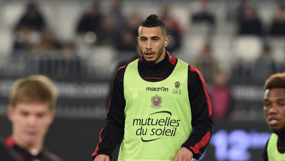 Nice's French-born Moroccan midfielder Younes Belhanda warms up prior to the French Ligue 1 football  match between Bordeaux and Nice on December 21, 2016 at the Matmut Atlantique stadium in Bordeaux, southwestern France. / AFP / NICOLAS TUCAT        (Photo credit should read NICOLAS TUCAT/AFP/Getty Images)