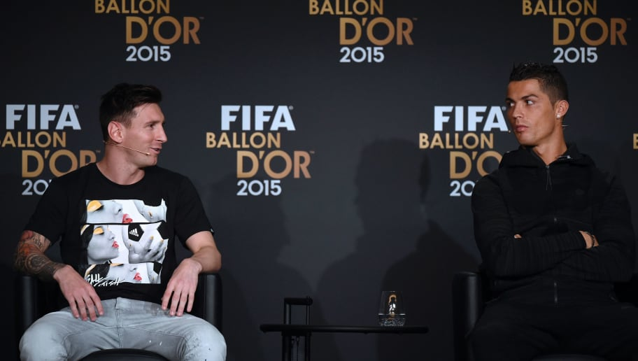 (From L) FC Barcelona and Argentina's forward Lionel Messi and Real Madrid and Portugal's forward Cristiano Ronaldo give a press conference ahead of the 2015 FIFA Ballon d'Or award ceremony at the Kongresshaus in Zurich on January 11, 2016.   AFP PHOTO / OLIVIER MORIN / AFP / OLIVIER MORIN        (Photo credit should read OLIVIER MORIN/AFP/Getty Images)