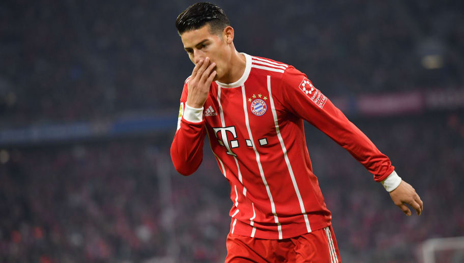 MUNICH, GERMANY - SEPTEMBER 22: James Rodriguez of FC Bayern Muenchen gestures during the Bundesliga match between FC Bayern Muenchen and VfL Wolfsburg at Allianz Arena on September 22, 2017 in Munich, Germany. (Photo by Sebastian Widmann/Bongarts/Getty Images)