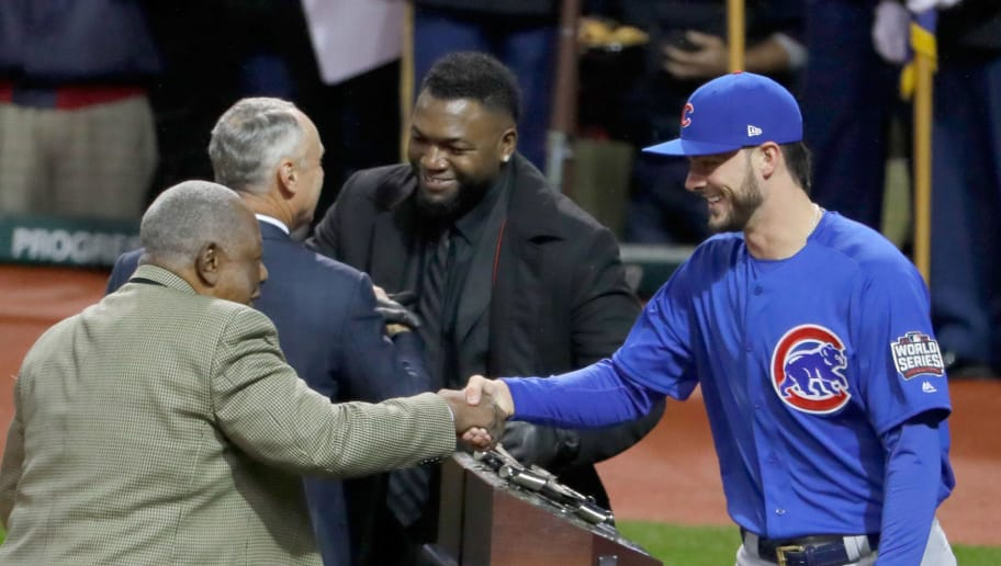 CLEVELAND, OH - OCTOBER 26:  2016 Hank Aaron Award American League recipient David Ortiz #34 of the Boston Red Sox and 2016 Hank Aaron Award National League recipient Kris Bryant #17 of the Chicago Cubs greet Commissioner of Baseball Rob Manfred and Major League Baseball Hall of Famer Hank Aaron prior to Game Two of the 2016 World Series between the Chicago Cubs and the Cleveland Indians at Progressive Field on October 26, 2016 in Cleveland, Ohio.  (Photo by Jamie Squire/Getty Images)