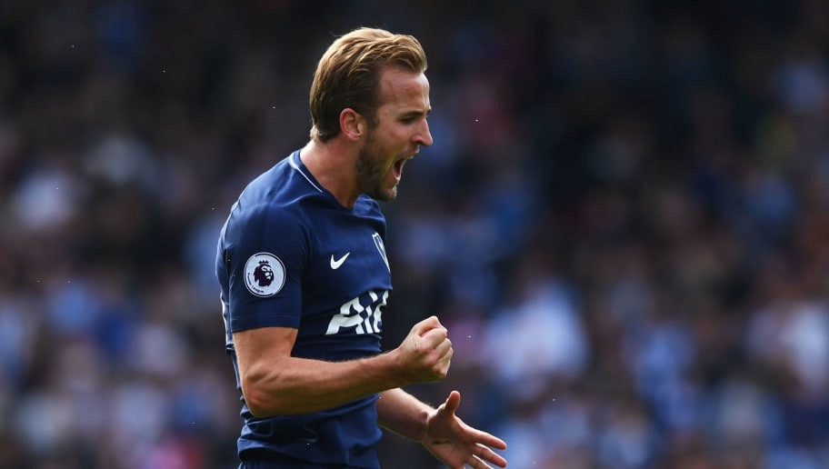HUDDERSFIELD, ENGLAND - SEPTEMBER 30:  Harry Kane of Tottenham Hotspur celebrates scoring his sides third goal during the Premier League match between Huddersfield Town and Tottenham Hotspur at John Smith's Stadium on September 30, 2017 in Huddersfield, England.  (Photo by Gareth Copley/Getty Images)