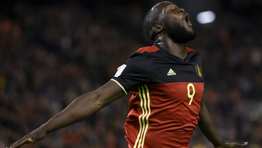 Belgium's forward Romelu Lukaku celebrates after scoring during the FIFA World Cup 2018 qualification football match between Belgium and Cyprus, at the King Baudouin Stadium, on October 10, 2017 in Brussels. / AFP PHOTO / JOHN THYS        (Photo credit should read JOHN THYS/AFP/Getty Images)