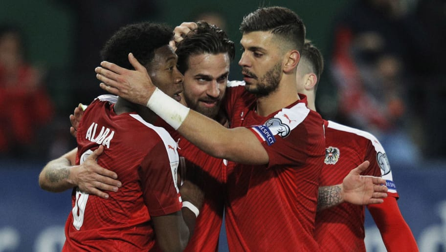 VIENNA, AUSTRIA - MARCH 24:  Martin Harnik of Austria is congratulated by David Alaba and Aleksandar Dragovic after scoring the second goal during the Austria v Moldavia 2018 FIFA World Cup Qualifier match at Ernst Happel Stadion on March 24, 2017 in Vienna, Austria.  (Photo by Adam Pretty/Bongarts/Getty Images)