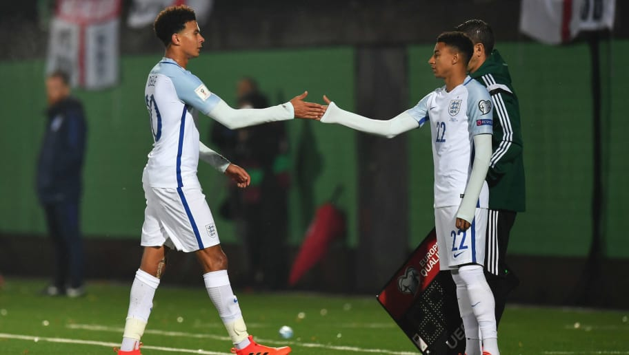 VILNIUS, LITHUANIA - OCTOBER 08:  Dele Alli of England shakes hands with Jesse Lingard of England as he is substituted during the FIFA 2018 World Cup Group F Qualifier between Lithuania and England at LFF Stadium on October 8, 2017 in Vilnius, Lithuania.  (Photo by Dan Mullan/Getty Images)