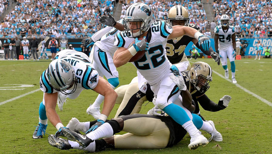CHARLOTTE, NC - SEPTEMBER 24:  Christian McCaffrey #22 of the Carolina Panthers runs against the New Orleans Saints during their game at Bank of America Stadium on September 24, 2017 in Charlotte, North Carolina.  (Photo by Grant Halverson/Getty Images)