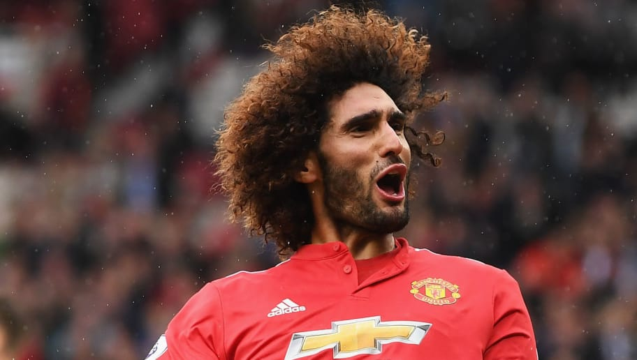 MANCHESTER, ENGLAND - SEPTEMBER 30:  Marouane Fellaini of Manchester United celebrates scroing his side's third goal during the Premier League match between Manchester United and Crystal Palace at Old Trafford on September 30, 2017 in Manchester, England.  (Photo by Laurence Griffiths/Getty Images)