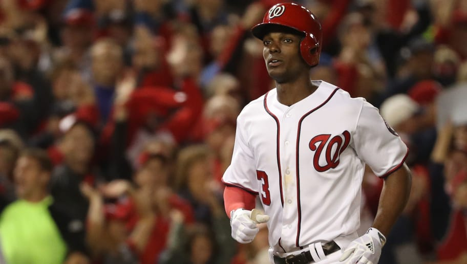 WASHINGTON, DC - OCTOBER 12: Michael Taylor #3 of the Washington Nationals rounds the bases after hitting a three run home run against the Chicago Cubs during the second inning in game five of the National League Division Series at Nationals Park on October 12, 2017 in Washington, DC. (Photo by Patrick Smith/Getty Images)