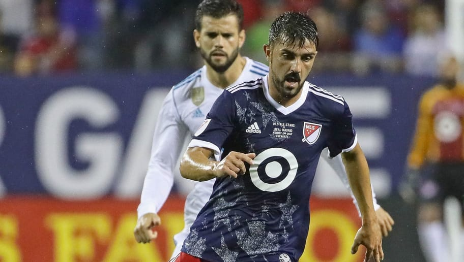 CHICAGO, IL - AUGUST 02:  David Villa #7 of the MLS All-Stars advances the ball against Real Madrid during the 2017 MLS All- Star Game at Soldier Field on August 2, 2017 in Chicago, Illinois. Real Madrid defeated the MLS All-Stars 4-2 in a shootout following a 1-1 regulation tie.  (Photo by Jonathan Daniel/Getty Images)