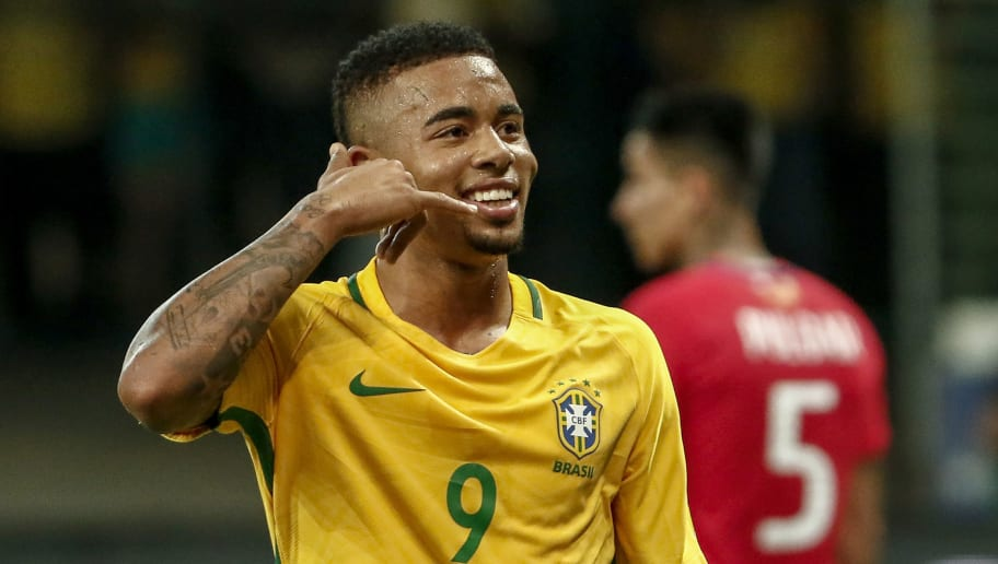 Brazil's Gabriel Jesus celebrates after scoring against Chile during their 2018 World Cup football qualifier match in Sao Paulo, Brazil, on October 10, 2017. / AFP PHOTO / Miguel SCHINCARIOL        (Photo credit should read MIGUEL SCHINCARIOL/AFP/Getty Images)