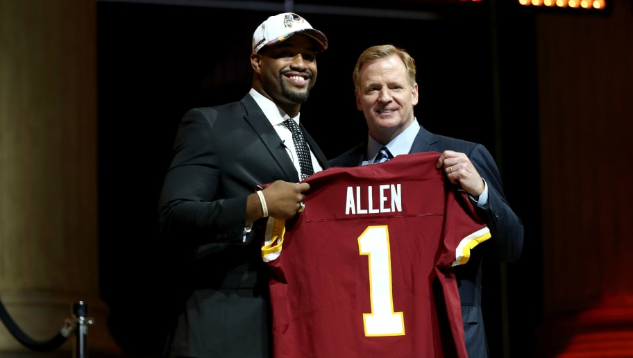 PHILADELPHIA, PA - APRIL 27:  (L-R) Jonathan Allen of Alabama poses with Commissioner of the National Football League Roger Goodell after being picked #17 overall by the Washington Redskins during the first round of the 2017 NFL Draft at the Philadelphia Museum of Art on April 27, 2017 in Philadelphia, Pennsylvania.  (Photo by Elsa/Getty Images)