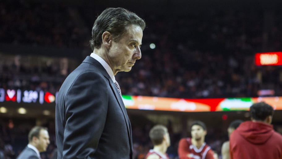 CHARLOTTESVILLE, VA - FEBRUARY 06: Head coach Rick Pitino of the Louisville Cardinals during Louisville's game against the Virginia Cavaliers at John Paul Jones Arena on February 6, 2017 in Charlottesville, Virginia. (Photo by Chet Strange/Getty Images)