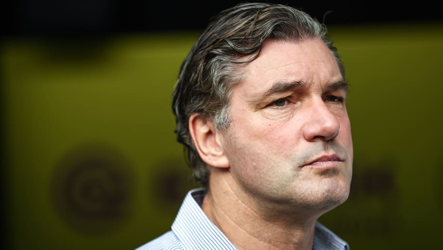 DORTMUND, GERMANY - AUGUST 26: Director of Sports Michael Zorc looks on prior the Bundesliga match between Borussia Dortmund and Hertha BSC at Signal Iduna Park on August 26, 2017 in Dortmund, Germany. (Photo by Maja Hitij/Bongarts/Getty Images)